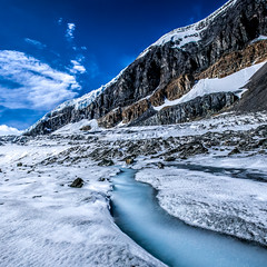 Frozen Stream on Glacier (peteskiphoto) Tags: winter mountain snow ice jasper banff stitched columbiaicefield icefieldsparkway athabascaglacier ptgui