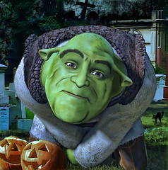 JOHN GOODMAN as SHREK! (The PIX-JOCKEY (visual fantasist)) Tags: portrait cinema celebrity film halloween cemetery monster night photoshop pumpkin shrek joke fake humour fantasy hollywood vip horror photomontage chop caricature actor johngoodman fotomontaggi robertorizzato pixjockey