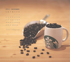 November Calendar (Faisal | Photography) Tags: wood morning white green cup glass coffee eos soft dof bokeh good 14 starbucks usm 50 tones ef ef50mmf14usm 50d canoneos50d novembercalendar faisal|photography فيصلالعلي