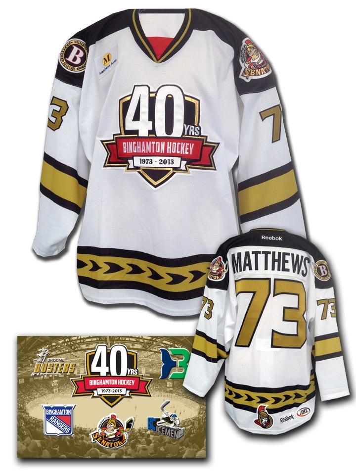 The Binghamton Senators wore a jersey celebrating 40 years of hockey in  Binghamton ... 6e3a4fb8c