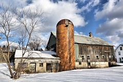 Back at the Barnyard (americanadian_8) Tags: old winter sky sun sunlight snow clouds barn ma day farm massachusetts rustic newengland silo day5 dracut 05jan13 day5365 3652013 365the2013edition