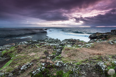 Reykjanest (Gujn Ott) Tags: sunset sea sky cloud beach nature water landscape sand waves gravel sjr nttra vatn sk himinn fjara sandur landslag slsetur reykjanest ldur ml