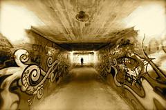tunnel vision 1 (The world is my canvas) Tags: light man walking lights graffiti alley path walk tunnel vision walkway tunnelvision wideanglelens graffitiwall spraypaintedwalls nikkor1224f28 1224f28 d800e