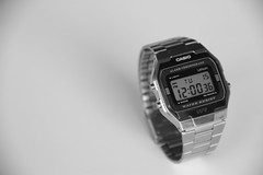 Good Afternoon (Eliora Aviya) Tags: shadow blackandwhite white black clock metal canon afternoon time steel watch casio 7d tuesday 12