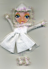 snow glitter (Frilled Daisy) Tags: dolls ornaments handpainted fabris