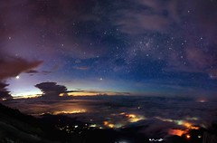 Mt Kinabalu - 4095.2m (alannibusbananibus) Tags: panorama moon mountain night way lens landscape photography star nikon long exposure mt south australia astro mount malaysia adelaide shooting kit 1855mm milky sabah kota kinabalu d5100