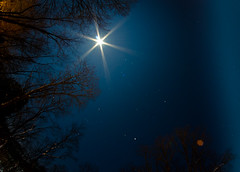 Starry Moon (Truebritgal) Tags: longexposure ohio moon snow cold nature night nikon angle snowy wide january full fullmoon fisheye nighttime flare lunar 2013 wintersville d7000 widefieldastrophotography prooptic8mm truebritgal