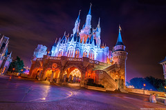 Cinderella's Tilt-A-Castle (TheTimeTheSpace) Tags: orange castle colors night reflections stars nikon glow purple disney disneyworld cinderella waltdisneyworld magical hdr compass magickingdom fantasyland cinderellascastle matthewcooper photomatix nikond800 thetimethespace