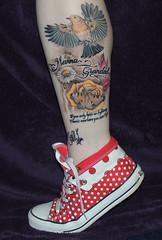 Finished Leg Tattoo (diedintragedy) Tags: flowers robin rose tattoo daisies ink butterfly garden tribute remembrance grandad nanna legtattoo
