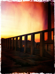 Repeating arches red fire (Usc (OFF,OFF!!!!!)) Tags: friends light sunset shadow red sky italy sun texture colors yellow skyline sunrise landscape fire photo europe perspective jesi eugenio wow1 iphone4 staffolo coppari usc rememberthatmomentlevel1 rememberthatmomentlevel2