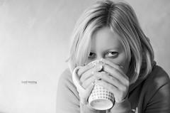 [good morning] (sebileiste) Tags: morning woman white black cup coffee girl breakfast 50mm nikon tea good 14d