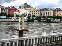 statue with cone (Jan Herremans) Tags: france janherremans june2016 lyon courthouse statue cone saone