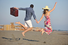 couple on beach with travel bag (its4adalina) Tags: travel beach bag summer trip couple vacation water woman girl nature hat female people holiday leisure sea blue wedding honeymoon tourism tropical outdoor lifestyles tranquil baggage traveler back man caucasian shore sand young journey sky happy jump run ocean seaside two family paradise love tourist joy freedom