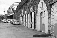 G.Scott Cars (ca2cal) Tags: bridge england blackandwhite bw white black brick cars car scott mono arch garage rail railway monotone gateshead website tyre tyneandwear gscott project366 gscottcars