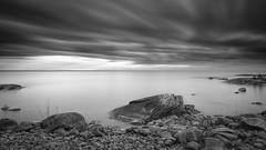 Mono world (PixPep) Tags: monochrome mono world sea lake water longtimeexposure hammar hammarsydspets karlstad sverige sweden rocks clouds blackandwhite blackwhite pixpep