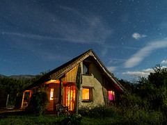 32/52 - The small cottage in Trives (Jrme Doutaz) Tags: 52project olympus france color cottage moon night samyang12mmf2 stars trives vercors