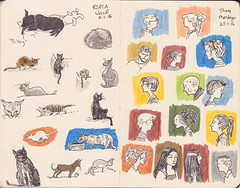 Page 34 (tanaudel) Tags: illustration drawing sketchbook moleskine fabercastell pittartistpens profile cameo cats kittens
