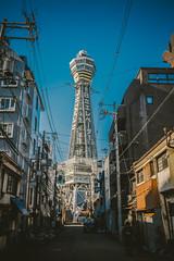 Tsutenkaku_1 (hans-johnson) Tags: osaka shinsekai tsutenkaku kansai kinki japan nihon nippon asia sky blue aozora city urban         eos5d 5d3 fullframe naniwa     1635   5d architecture tower
