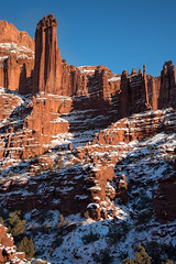 In the Land of Dr. Seuss (courtney_meier) Tags: utah fishertowers mudstone goldenlight goldenhour afternoon bluesky desert desertsnow redrock redrockcountry coloradoplateau moab snow snowscape