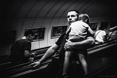 The best daddy (dalibor.papcun) Tags: daddy monochromat budapest metro underground real streetlife streetphotography streetbudapest streetphoto citypulse parents sleep baby boy escalator nikon35mm