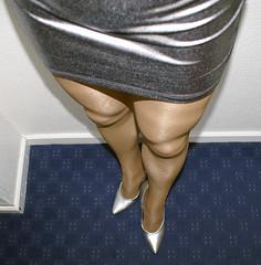 Silver skirt & heels (colleen_ni00) Tags: tranny transvestite crossdresser crossdressing tights stilettos silver shiny miniskirt