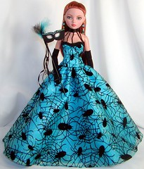 EWBlueSpiderMask (Sweet Creations Doll Fashions) Tags: ellowyne ellowynewilde dollfashions dollfashion dress dollclothes sweetcreations dollfashionsbysweetcreations halloween halloweencostume mask wildeimagination turquoise black spider