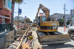 160816_1092_4thStSTS (Central Subway) Tags: 4thstreet 5554thstreet centralsubway freelonalley muni sf sfmta sts sanfrancisco sanfranciscomunicipalrailway sanfranciscomunicipaltransportationagency soma starbucks tthirdline thepalms wellsfargo construction excavator extension forcemain installation lightrail phase2 project sewer southofmarket surfacetrackwork trench utilitywork