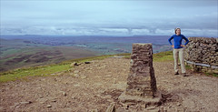 pen-y-ghent summit (Ron Layters) Tags: penyghent summit ronet trigpoint thebeast vista wall pennineway moorland threepeaks clouds cairn yorkshiredales landscape day11 hortoninribblesdale england unitedkingdom slidefilmthenscanned slide transparency fujichrome velvia canoneos300v canon eos300v rebelti ronlayters