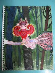 another sketch re-worked (KipikArt) Tags: red bird forest woods fierce secret sacred strong branchbeast