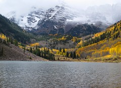 Maroon Bells (zoniedude1) Tags: autumn wild sky lake snow mountains nature colors beauty clouds landscape outdoors colorado colorful hiking fallcolors adventure explore vista aspens rockymountains wilderness exploration discovery stormclouds maroonbells mountainscape aspentrees maroonlake whiterivernationalforest maroonbellssnowmasswilderness snowypeaks pitkincounty coloradoautumn zoniedude1 canonpowershotg11 earthnaturelife coloradoexpedition2012 14156ftelevation