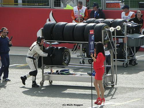 Romain Grosjean's pit board ahead of the GP2 Sprint Race at the 2011 British Grand Prix at Silverstone