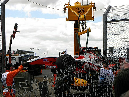 Pastor Maldonado's ART Grand Prix GP2 car is rescued at the 2009 British Grand Prix