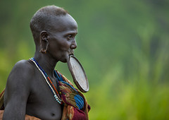Waist Up Portrait Of A Suri Tribe Woman With A Lip Plate, Kibish, Omo Valley, Ethiopia (Eric Lafforgue) Tags: africa road portrait people woman color green horizontal walking outside photography interesting colorful day breast outdoor profile jewelry tribal ornament clay intriguing omovalley oldwoman copyspace ethiopia tribe pastoral ethnic surma bizarre impressive bodymodification oneperson jewel labret onepeople hornofafrica ethnology omo eastafrica suri onepersononly realpeople colorimage onewomanonly beautify waistup africanethnicity pastoralist pastoralism lipplug lipplate img1082 semidress kibish snnpr bodytransformation onematurewoman oneadult lipdisc oneoldwomanonly southernnationsnationalitiesandpeoplesregion kibbish piercedhole piercedlipornament ethiopianethnicity enlargedearlobe