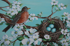 American Robin Painted Table (sherrylpaintz) Tags: flowers original winter summer art fall home nature water floral robin america forest river painting design spring woods colorful artist seasons nest artistic furniture spirit turquoise ooak decorative painted wildlife country mother logs style wallart deer handpainted eggs romantic chic dogwood custom buck decor majestic mothernature americanrobin whimsical treasures acrylicpaint patina nesting realism paints tissuebox primitive magazinerack realistic paintedfurniture whitetaildeer robineggs robineggblue decorativepainting countryart magazinetable robinblue wildlifeartist robinpainting decoratingstyle sherrylpaintz robinsnestindogwoodtree handpaintedtissuebox robinandnestindogwoodtreepainting turquoisepaintedfurniture