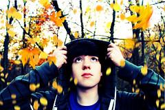 Autumn Leaves (Cameron Neader) Tags: autumn orange selfportrait fall leaves leaf october falling selfie cameronneader