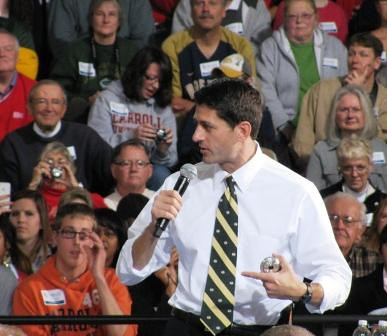 Paul Ryan makes a point during his speech at Carroll University in Wauke