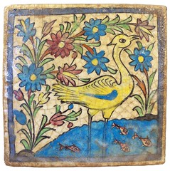 Sadigh Gallery's Persian Ceramic Tile with Hand Painted Design (Sadigh Gallery) Tags: bird tile ceramic persian sadighgallery