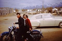 Mom and The Harley (KurtClark) Tags: mountains chevrolet alaska sedan vintage harley anchorage chevy 9th gamble fleetline chev bigtwin
