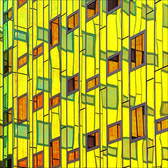 - L'arc en ciel - (Jacqueline ter Haar) Tags: building regenboog reflections colorful colours foil iridescent wonderland glas deventer folie larcenciel imarchitecten iriserend