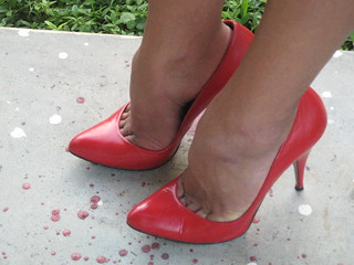 Red Vintage Spanish Leather Pumps by shuttlecmdr3