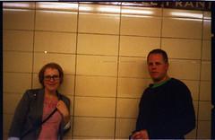 Kristen & Joel (Beaulawrence) Tags: camera summer people toronto ontario canada color colour castle film station analog vintage underground subway tile frank gold lomo lomography metro kodak joel ttc grain lofi rangefinder scan retro september negative 400 transit kristen to konica asa expired sept ont 2012 on c41 c35 sooc