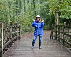 Poohsticks! 293/366 (sadandbeautiful (Sarah)) Tags: uk bridge portrait england woman selfportrait me wet female self rainy day293 poohsticks poohsticksbridge 366days dontyoulovethevarietyinmyspsfromengland