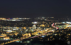 The Star City (konrad_photography) Tags: city blue mountain mill skyline night lights star virginia airport downtown shot trails ridge roanoke va parkway