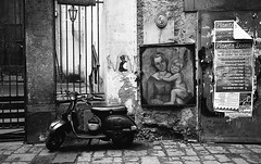 (Anima Mundi) (Robbie McIntosh) Tags: leica blackandwhite bw streetart film monochrome wall analog 35mm graffiti vespa kodak tmax madonna religion jesus paintings streetphotography hc110 rangefinder bn summicron negative 400 posters analogue m6 kodaktmax400 biancoenero argentique jesuschrist leicam6 dyi selfdeveloped pellicola analogico leicam6ttl leicam filmisnotdead kodakhc110 hc110dilb autaut leicasummicron35mmf20iv leicasummicron35mmf2iv summicron35mmf20iv pushed1600iso