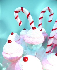 Holiday Table Top ~ Center Piece ~ Display ~ Cupcakes ~ Candy Canes (Pinks & Needles (used to be Gigi & Big Red)) Tags: pink sculpture white holiday cute cake glitter modern cherry cherries aqua handmade girly decoration retro sugar desserts cupcake gift annie faux vase hostess bouquet etsy candycane tulle straws striped eyecandy whimsical sculpted frosted inedible paperstraws treatstreat gigiminor sweetsbouquet pinkandwhitestraws
