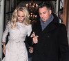 Pamela Anderson and her 'Dancing On Ice' partner Matt Evers leave Les Ambassadeurs Club