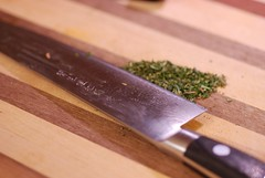 My Hatori knive and some finely cut rosemary from our bush (gadgetgeek) Tags: lamb shadybrookfarm