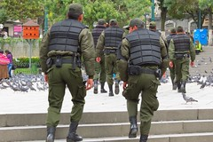 La Paz Police (Matthew Straubmuller) Tags: latinamerica southamerica pigeon police bolivia coca lapaz policia socialism evo 2012 corrupt bolivian morales evomorales 2013 lapazbolivia canonpowershotsx40 canoonpowershot