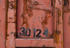 Steel Scars (AH in Pgh) Tags: pink red texture metal dumpster stencil rust steel gash surface number faded damage scrapes nantucketred
