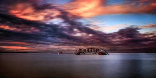 uk bridge light sunset rock scott scotland high long exposure pentax bass tide sigma east 1750 mm dunbar lothian fascinating masterton belhaven nd400 cloudage k30 ndx400 flickrrf